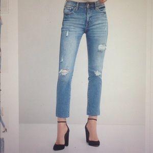 GAP high rise slim straight jean with destruction
